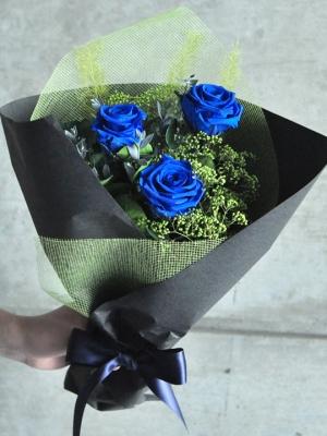 青バラ3本のプリザーブドフラワーの花束