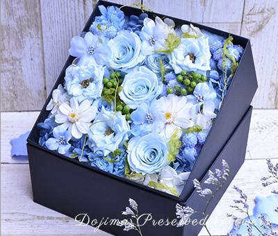 結婚祝い サムシングブルー ボックスフラワー