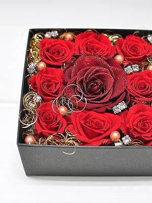 プロポーズ 赤バラ ボックスフラワー