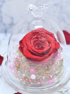 赤バラのダイヤモンドローズのガラスドーム