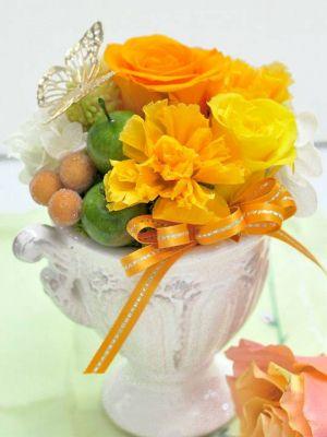 開院祝い オレンジ プリザーブドフラワー