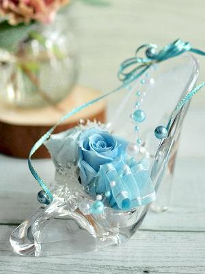 シンデレラの水色のガラスの靴プリザ