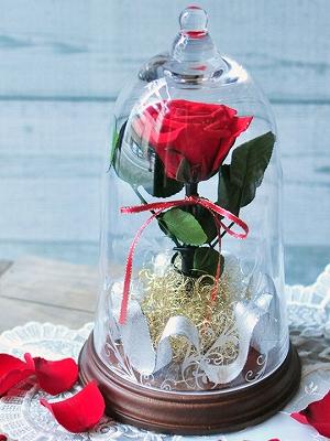 ガラスドームに一輪の赤バラを入れたプリザーブドフラワー