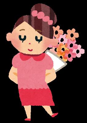 ピンクの花束を持った女の子