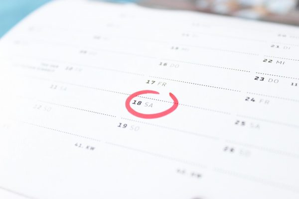 記念日を記したカレンダー