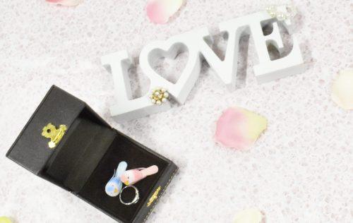 LOVEの文字のオブジェと婚約指輪とカップルの小鳥