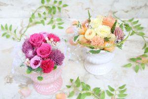 黄色とピンクの可愛いプリザーブドフラワー