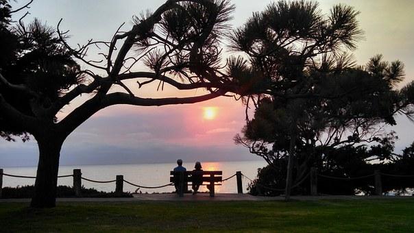 海辺のベンチで夕焼けをみるカップル