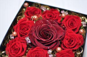 赤バラのボックスフラワー