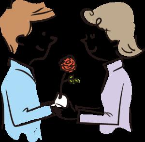 一輪のバラのプレゼント
