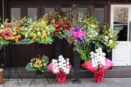 色とりどりのお花のスタンド花と白い胡蝶蘭