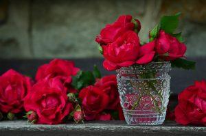 花瓶に入ったお正月にもオススメなバラ