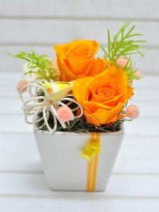オレンジのバラと黄色の小鳥の乗った小さなプリザーブドフラワー