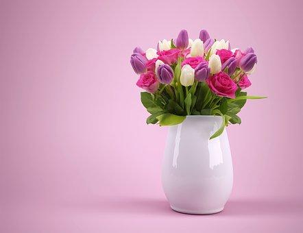 花瓶に活けられた花束