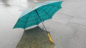 ブルー色の雨傘