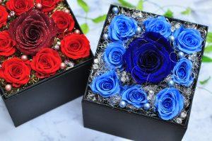 青いバラのプロポーズ用ボックスフラワー