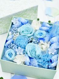 青バラと小鳥のBOXフラワー