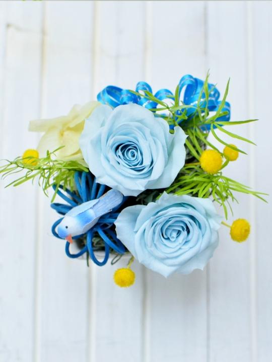 青バラと小鳥のプリザ