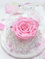 小鳥の付いたガラスドームにピンクのダイヤモンドローズが一輪入っている