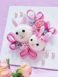 ウサギの開店祝いのプリザーブドフラワー