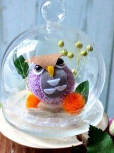 フクロウのプリザーブドフラワーのガラスドーム