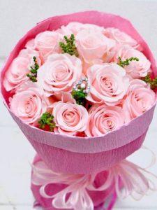 プロポーズ(ライトピンク)-12本のバラ花束-