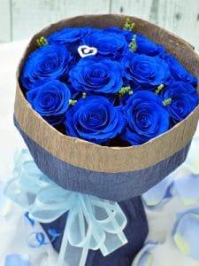 プロポーズ(ディープブルー)-12本のバラ花束-
