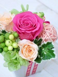 ピンクとピーチ色のバラのアレンジメント
